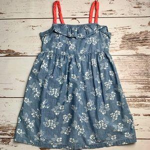 GYMBOREE Chambray Blue Flower Ruffled Tank Dress 8